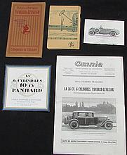 -Catalogues PANHARD & LEVASSOR de 1921 et 1922  - Illustrations de 1924 - Plaquette de 1928 - Omnia de 1929