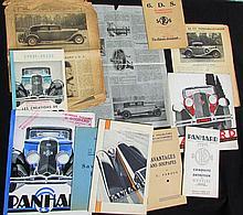 -Illustrations PANHARD & LEVASSOR de 1929 (supplément commercial) - Catalogue 1930, avec documents Omnia - Catalogue 1931 - Catalogue 1932 - Catalogue 1933 (5 exemplaires