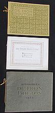 - Catalogue DE DION BOUTON de 1912 - Catalogue 1913  - Catalogue 1914  - DE DION BOUTON, images du Passé 1882-1926 mai 1937