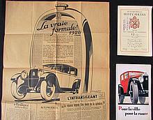- HOTCHKISS 1928 affiches publicitaires,  -Prix des châssis et voitures 12 CV &12 CV -Pour la ville, pour la route