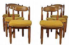 Robert GUILLERME (1913-1990) et Jacques CHAMBRON (1914-2001) Série de six chaises en chêne Circa 1960 83 x 48 x 48 cm