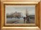 Eugène GALIEN-LALOUE (1854-1941) sous le pseudonyme de Lievin Rue animée à Paris Gouache et aquarelle Signée Lievin en bas à droite 17,8 x 30 cm (7 x 11,8 in.)  Gouache and watercolour, Signed Lieven lower right
