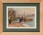François Richard de MONTHOLON (1856-1940) Soldat français pêchant dans le port de Rouen sous les yeux de soldats britanniques, 1915 Aquarelle sur sérigraphie Signée en bas à droite Etiquette de la vente d'atelier au dos 27 x 38 cm (10,6 x 15 in.)