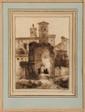 François-Marius GRANET (1775-1849) Le Temple de Vénus, l'Eglise Santa Teresa, en fond, le Capitole Plume Signé en bas à droite 15,8 x 11,5 cm (6,2 x 4,5 in.)  Ink, Signer lower right