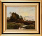 François Richard de MONTHOLON (1856-1940) Crépuscule sur la lande (Fontainebleau) Huile sur toile Signée et dédicacée