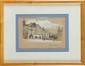 François Richard de MONTHOLON (1856-1940) La Place Belliart, Fontenay-le-Comte, Vendée , 1899 Crayon, plume et lavis d'encre de chine, réhauts de blanc Etiquette de la vente d'atelier au dos 21 x 24 cm (8,3 x 9,4 in.) Pencil, ink, wash drawing and