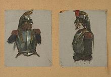 Edouard Detaille (1848-1912) « Etude de cuirassiers et de casques pour la charge
