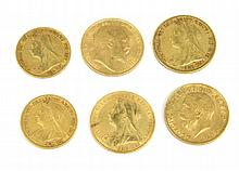 ANGLETERRE 6 souverains or type Victoria 1898-1899-1895-1900-1906-1926 Poids total : 28 g