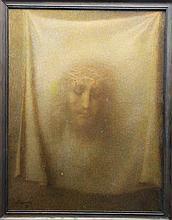 Lucien LÉVY-DHURMER (1865-1953)  Le Voile de Veronique Huile sur toile signée en bas à gauche et datée 1941 65 x 50 cm