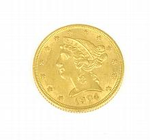 ETATS-UNIS 5 Dollars or Liberty Head Half eagle coin 1904 Poids : 7 g