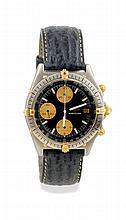BREITLING 1940 Chronographe Breitling «1940» plaqué or rose sur cuir. Réf 1192. Boitier rond, anses gouttes. Cadran argent guilloché, index or appliqués et chiffres arabes, 2 compteurs horizontaux. Mouvement chronographe à remontage manuel Vénus 188.