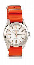 ROLEX MILGAUSS de 2008 ref : 116 400 / Numéro : V 008 XXX. Boitier en acier rond, bracelet nato orange, couronne et fond de boite en acier signés Rolex. Cadran blanc index noir / luminova orange, «aiguilles» éclair orange. Cage de mouvement