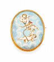 BROCHE la monture en or jaune de forme ovale, ornée d'une miniature peinte d'après Boucher représentant deux angelots, fond en nacre. Portant la signature
