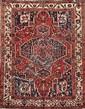 BAKTIAR ( Iran) à décor floral sur fond brique Vers 1960 190 x 158 cm