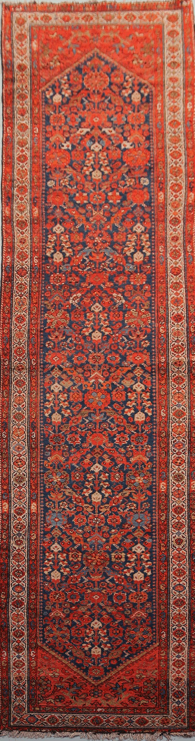 Importante et ancienne galerie FERAHAN (Nord Ouest de la Perse) fond bleu de Prusse à décor « Herati » Début XXème siècle 400 x 100 cm