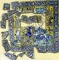 .Ensemble de carreaux fragmentés En céramique peinte en polychromie sous glaçure transparente. Divers personnages, feuillage, un marre aux canards et bordures de rinceaux fleuris en réserve sur fond bleu. Iran, art Qajar XIXe siècle,
