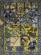Réception de Chah Tahmasp Panneau composé de carreaux de revêtement mural en céramique peinte en polychromie sous glaçure transparente. Cette représentation s'inspire directement d'une grande peinture murale du XVIIe siècle dans le palais de Chehel