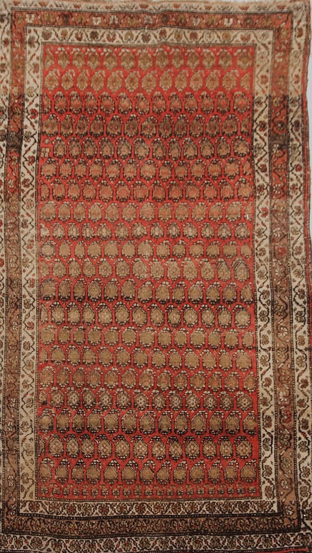Ancien et fin MIR-SERABEND (Perse) à semis de Botehs sur contre fond vieux rose Début XXème siècle 186 x 107 cm