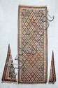 KILIM-SENNEH-KURDE à semis de caissons Milieu XXème siècle 297 x 117 cm