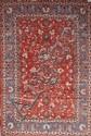 Ancien, exceptionnel, fin et grand ISPAHAN (époque du Shah) fond brique à riche décor de fleurs 345 x210 cm (chaînes et trames en soie)