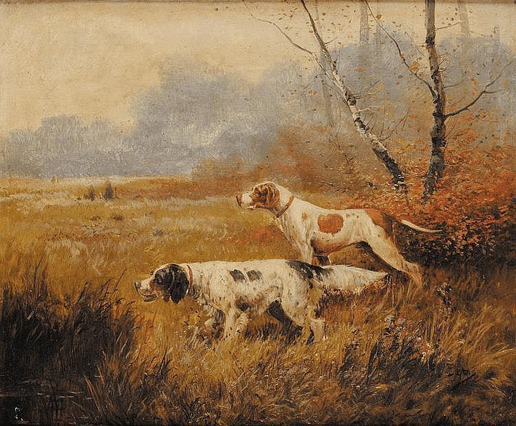 Eugène PETIT (1839 - 1886) Chiens de chasse Paire d'huiles sur toile, sur leurs toiles d'origine Signées en bas à droite 38 x 46 cm