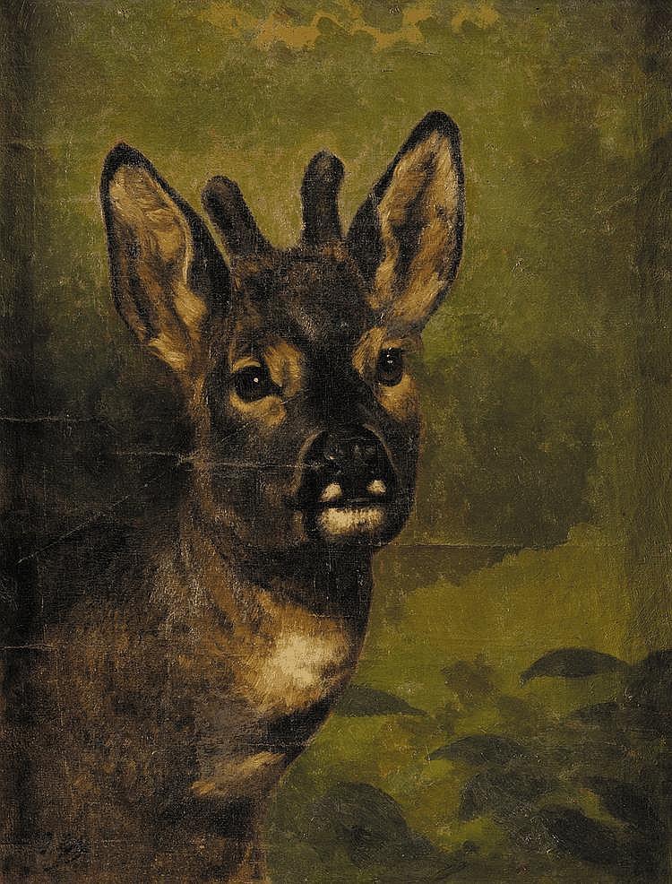 Jules Bertrand GÉLIBERT (1834-1916) Tête de chevreuil Sur sa toile d'origine Signé en bas à gauche 50 x 39 cm Provenance : Descendance directe de l'artiste