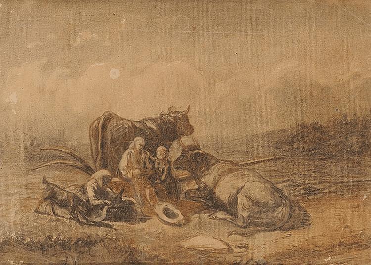 Jules Bertrand GÉLIBERT (1834-1916) Le repos des bergers Fusain et terre de fer 26,5 x 37,5 cm Provenance : Descendance directe de l'artiste