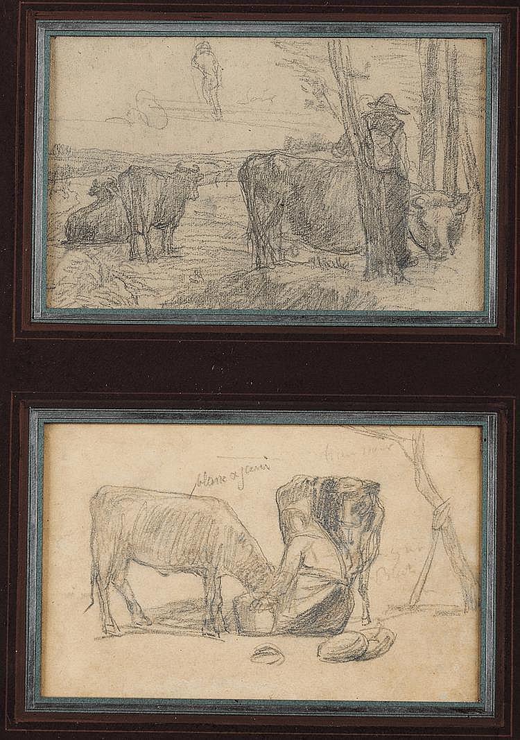 Eugène BOUDIN (1824-1898) Fermier et son troupeau Fermière et ses vaches Deux dessins au crayon noir sur le même montage 13 x 20,5 cm chaque  Provenance : Ancienne collection Claude Roger Marx Vente Piasa, 10 décembre 2004, n°260