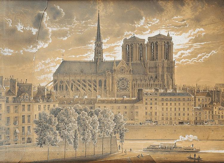 Albert-Charles TISSANDIER (1839-1906) Vue de la façade latérale nord de Notre Dame de Paris Crayon noir, crayons de couleurs et rehauts de gouache blanche 75 x 102 cm Signé et daté en bas à droite « a.Tissandier 1879 » Insolé. Gouache blanche