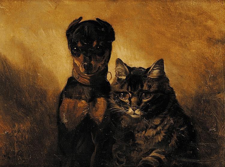 Philippe ROUSSEAU (1816-1887) Chien et chat Huile sur toile Signé en bas à gauche 34 x 44,5 cm