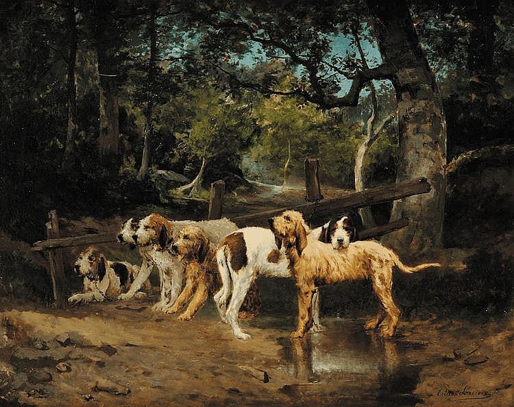 Tristan LACROIX (1849-1914) Meute de grands griffons vendéens au repos Sur sa toile d'origine Signé et daté 88 en bas à droite 73 x 92 cm