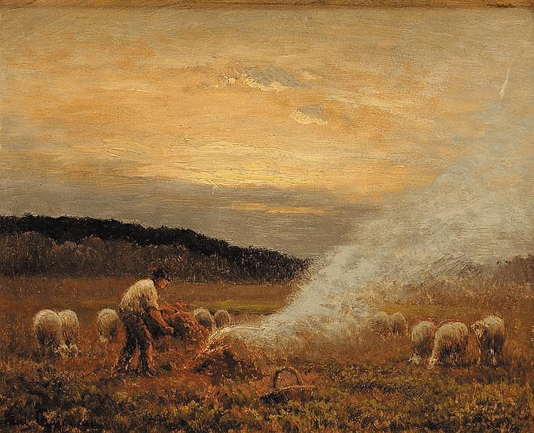 Paul CHAIGNEAU (1879-1938) Fenaison au pâturage Huile sur panneau Signé en bas à gauche 22 x 27,5 cm
