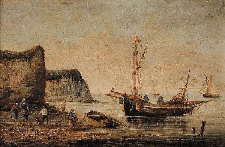 Victor Gabriel GILBERT (1847-1935) Le retour des pêcheurs Huile sur panneau Signé en bas à droite 14 x 22 cm