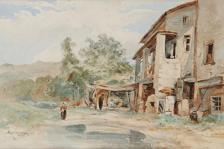 Armand Théophile CASSAGNE (1823-1907) Cour de ferme Aquarelle et crayon Signé en bas à gauche 33,5 x 50 cm