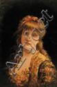 Emile EISMAN-SEMENOWSKY (1857-1911) Portrait de jeune demoiselle Huile sur panneau Signé et daté 1888 en haut à gauche 33 x 23,5 cm