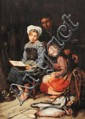 Victor LAINÉ (1830-1911) Les enfants du pêcheur Sur sa toile d'origine Signé et daté 1904 en bas à gauche 117 x 83 cm  Exposition : Probablement Salon de 1904, n°1013, comme Une jeune Equihenoise
