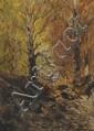 Eugène DESHAYES (1828-1890) Couple en sous-bois Aquarelle et gouache Signé en bas à droite 22 x 15,7 cm