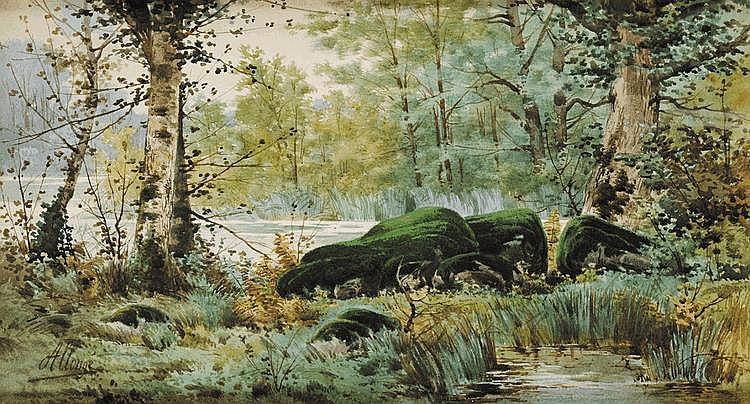 Auguste ALLONGÉ (1833-1898) Paysage de rochers en forêt Aquarelle Signé en bas à gauche 30 x 55 cm