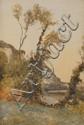 Louis Alexandre CABIÉ (1854-1939) Le couchant, les Eygliers Aquarelle Signé en bas à gauche 55 x 37,5 cm