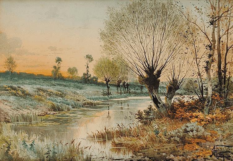 Hippolyte Jean GIDE (1852 - 1921) Paysage lacustre aux saules Aquarelle 37 x 54 cm Signé en bas à droite H. Gide