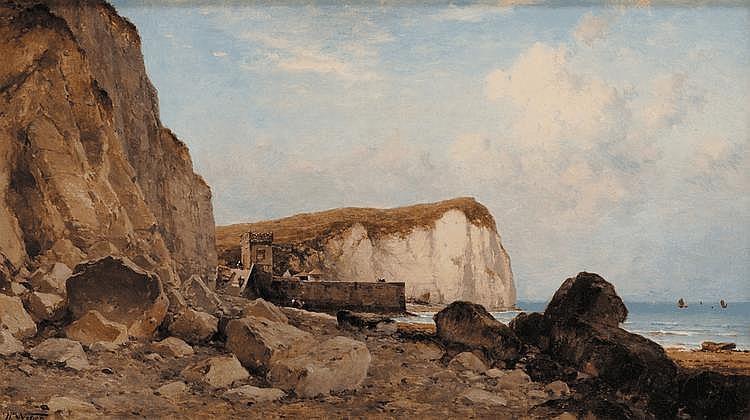 Theodore Alexander WEBER (1838-1907) Le pays de Caux Sur sa toile d'origine Signé en bas à gauche 32,5 x 55,5 cm