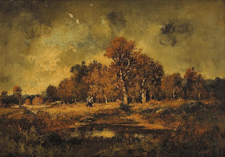Camille MAGNUS (1850-?) Fagotière en lisière de forêt Sur sa toile d'origine Signé en bas à gauche 33 x 46 cm (manques)