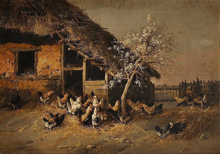 Alexandre DEFAUX (1826 - 1900) Le poulailler Sur sa toile d'origine Signé en bas à droite A. Defaux 66 x 93 cm