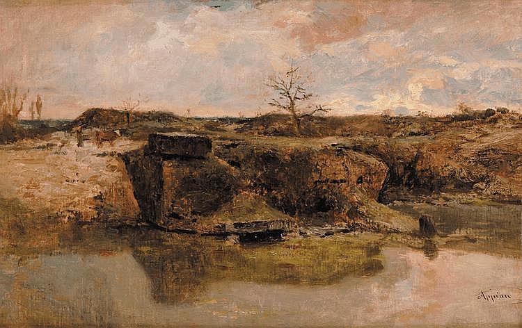 Adolphe APPIAN (1818 - 1898) Paysage aux falaises Toile Signé en bas à droite Appian 45 x 70 cm