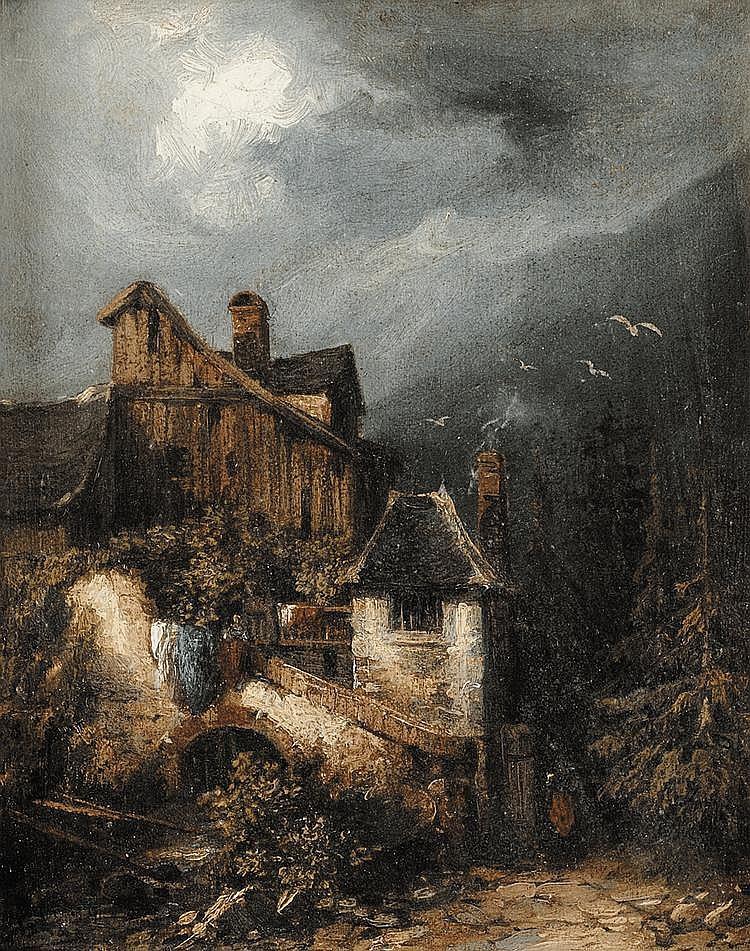 Gabriel Hippolyte LEBAS (1812-1880) Village dans la vallée Huile sur papier marouflé sur toile Signé en bas à gauche 26 x 21,5 cm