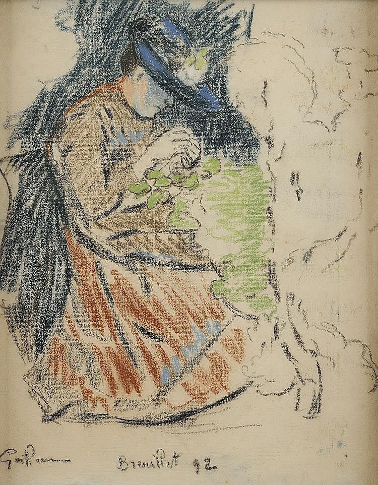 Jean Baptiste Armand GUILLAUMIN (1841 - 1927) La couture Pastel 44,5 x 35 cm Signé, localisé et daté en bas à gauche Guillaumin Breuillet 92 Notre dessin faisait partie de la collection de Albert Dalimier (1876-1936) qui était Sous-Secrétaire d'Etat