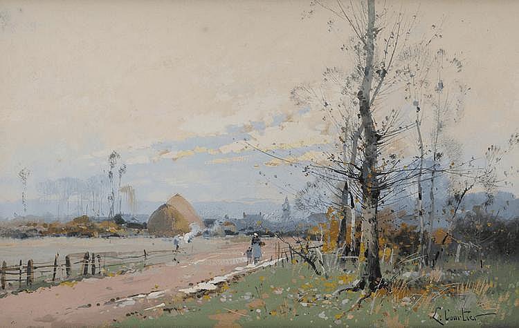 L. Courtier (XIXème - XXème) Femme et enfant sur un chemin Aquarelle et gouache Signé en bas à gauche 20 x 31 cm