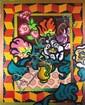 Guy CHARON (né en 1927) Nature morte au vase de fleurs Huile sur toile 100x82 cm