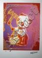 Drums, Clockwork (parme, orange) Sérigraphie signée dans la planche Numérotée 1613 sur 5000 par l'éditeur 32 x 21 cm