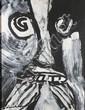 Bengt LINSTROM (1925-2008) Visage Gouache sur papier 67 x 49 cm